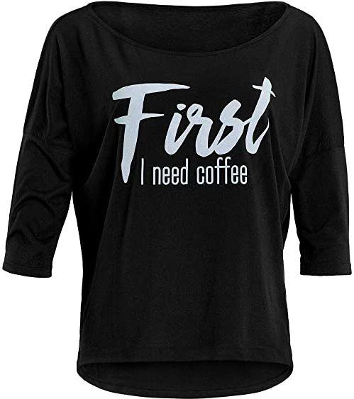 """WINSHAPE Winshape damska ultra lekka modna koszulka z rękawami 3/4 Mcs001 z białym nadrukiem""""First I Need Coffee"""" z brokatowym nadrukiem Czarno-biały błyszczący XS"""