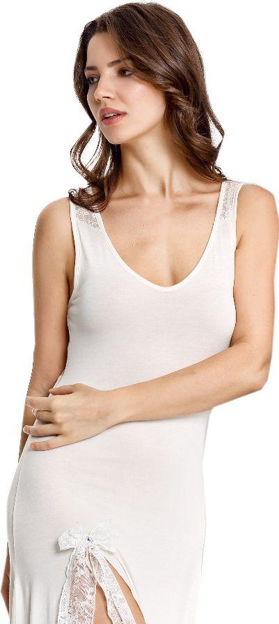 Bambusowa koszula nocna damska GIA S Kremowy