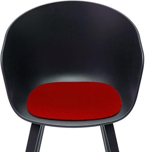 Hey Sign about a chair nakładka na siedzisko, żywa wełna, czerwona 11AR, 39x37x0,5 cm