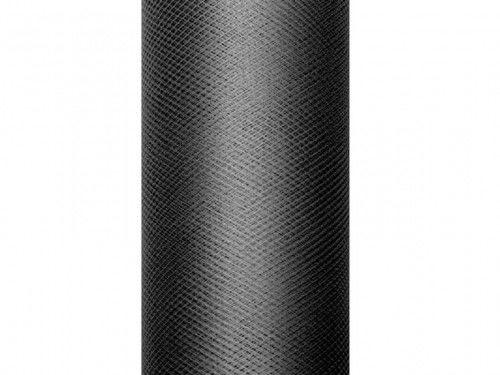 Czarny tiul, gładki 0,5x9 m, rolka