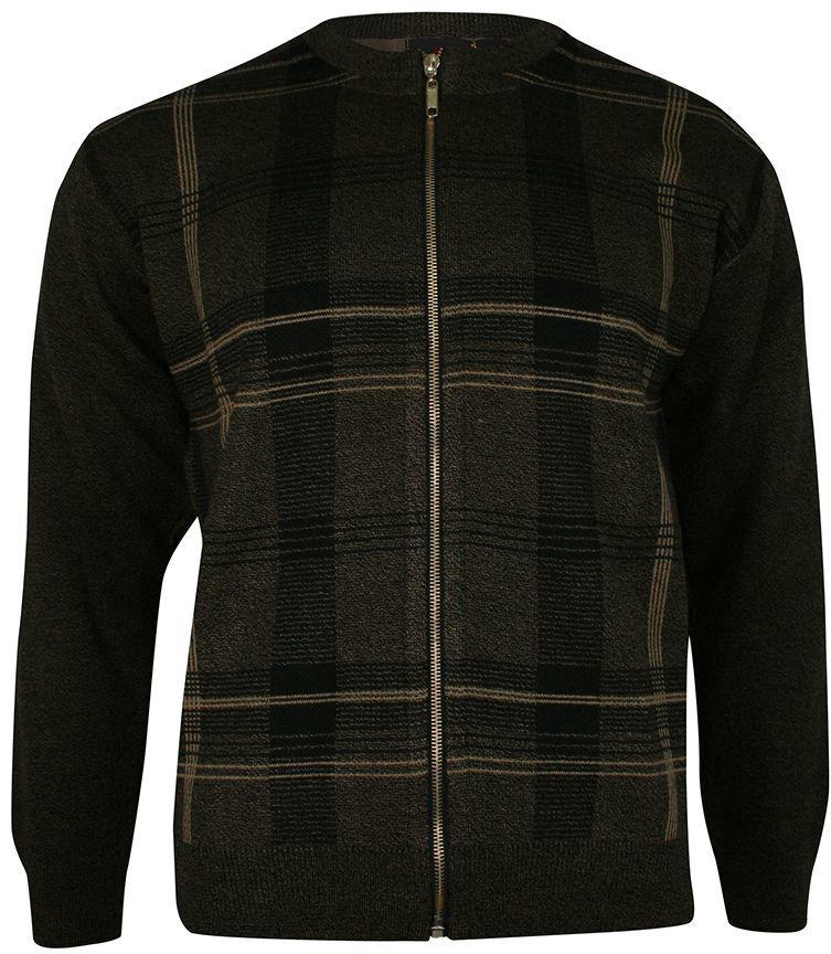 Sweter na Zamek, Brązowy Męski Rozpinany ze Stójką, Dziergany, Wzór Geometryczny -KINGS SWKNGS6980727braz