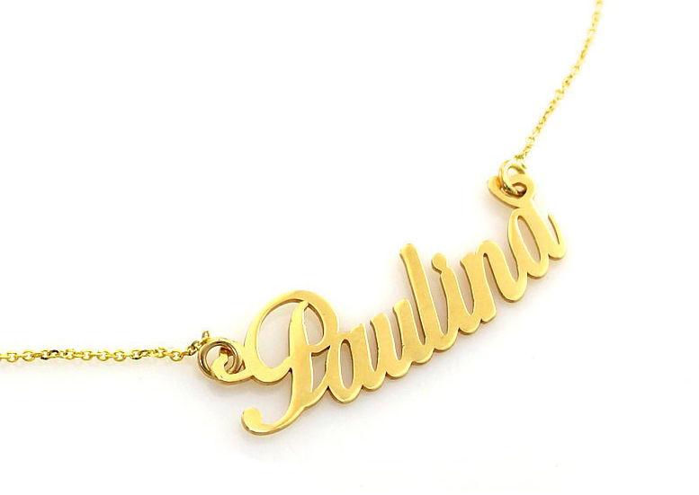 Złoty naszyjnik 585 celebrytka imię Paulina 2,51 g