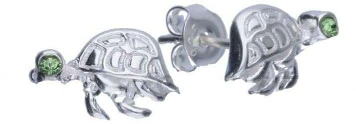 Srebrne kolczyki 925 żółw z cyrkoniami 1,70g