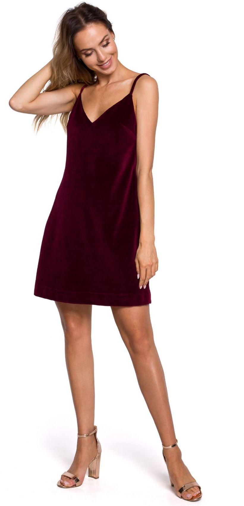 M560 Welurowa Sukienka Mini Na Ramiączkach - bordowa