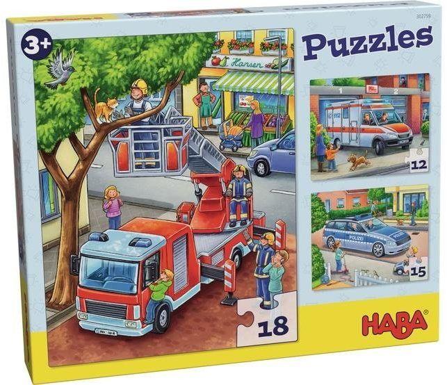 Puzzle dla dzieci Służby Mundurowe 3w1 HB302759-Haba, puzzle tekturowe