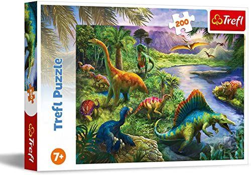 Trefl Drapieżne Dinozaury Puzzle 200 Elementów o Wysokiej Jakości Nadruku dla Dzieci od 7 lat