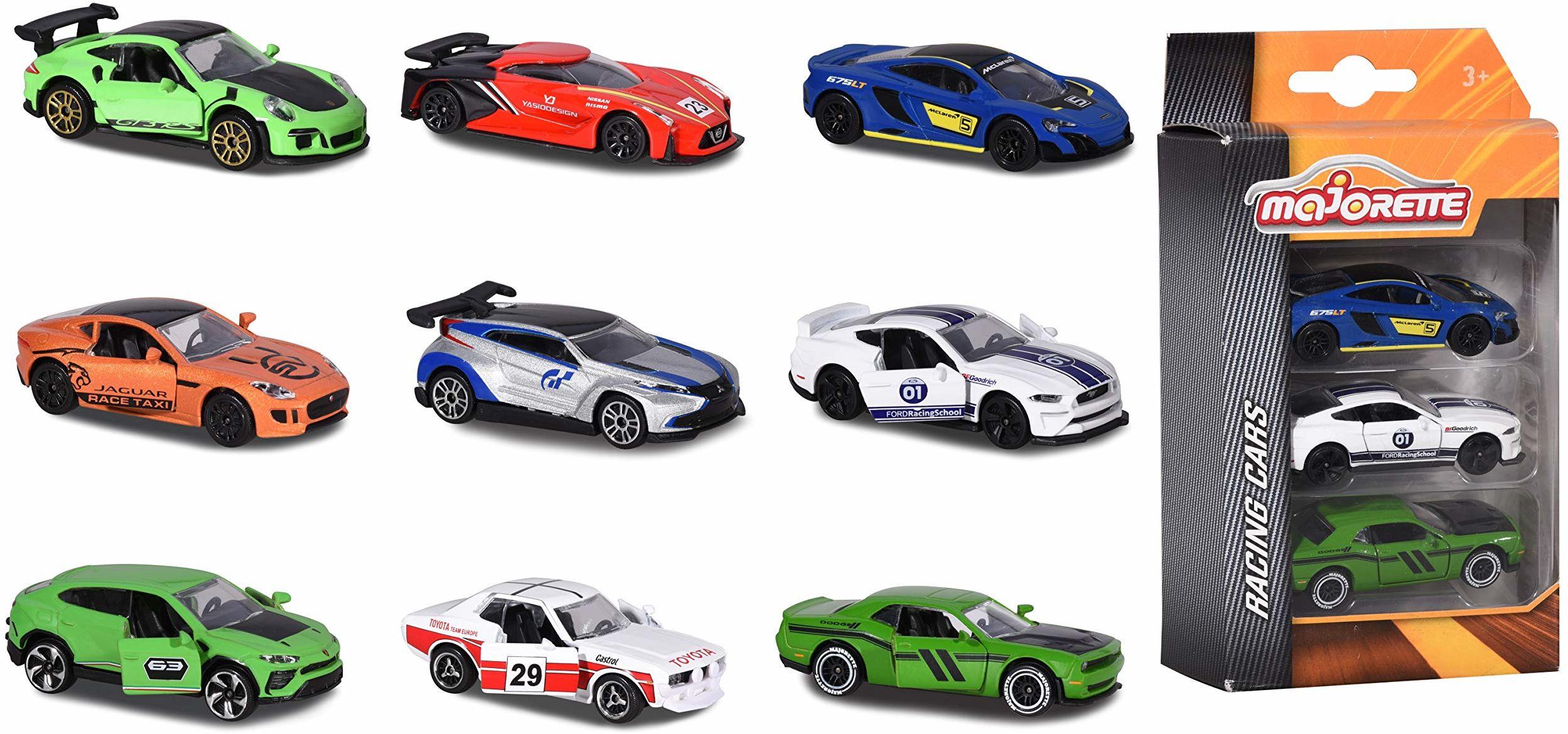 Majorette Racing 3-częściowy zestaw zabawek samochodowych, miniaturowe pojazdy, zabawki, Die-Cast, 3 różne zestawy, dostawa: 1 x 3-częściowy zestaw, losowy wybór, 7,5 cm