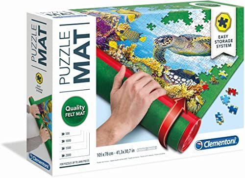 Clementoni 30229 rolka puzzli, praktyczna podkładka do puzzli do 2000 części, łatwe przechowywanie i transport, mata puzzli z filcu, dla małych ekspertów w dziedzinie puzzli od 6 lat