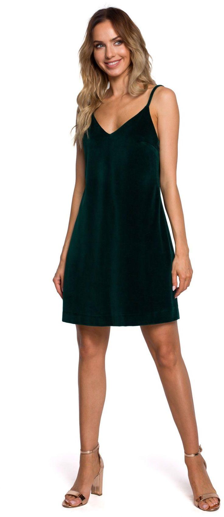 M560 Welurowa Sukienka Mini Na Ramiączkach - zielona