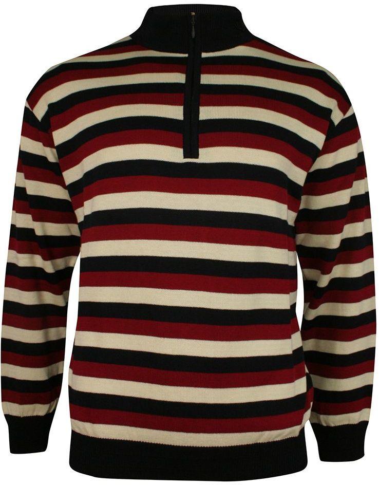 Granatowo-Beżowo-Czerwony Męski Sweter z Wysokim Dekoltem na Zamek -KINGS- Troyer, w Paski SWKNGS3806paski