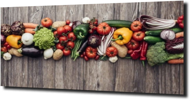 obraz na szkle Warzywa drewno 120X60