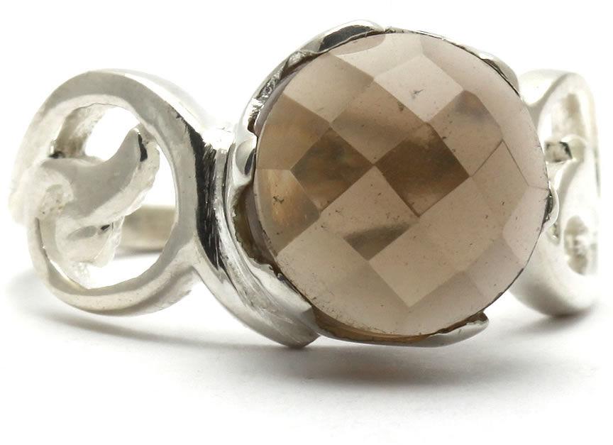 Kuźnia Srebra - Pierścionek srebrny, rozm. 13, Kwarc Dymny, 4g, model