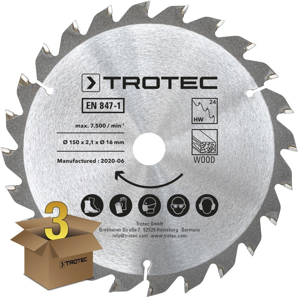 Zestaw tarcz do drewna do pilarki Ø 150 mm (24 zęby), 3-częściowy