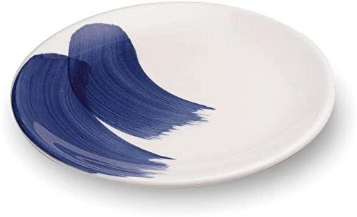 Zafferano Mannaggia Li Pescetti - talerz deserowy z porcelany, średnica 205 mm, kolor niebieski i biały, wzór fali, nadaje się do mycia w zmywarce - zestaw 6 sztuk
