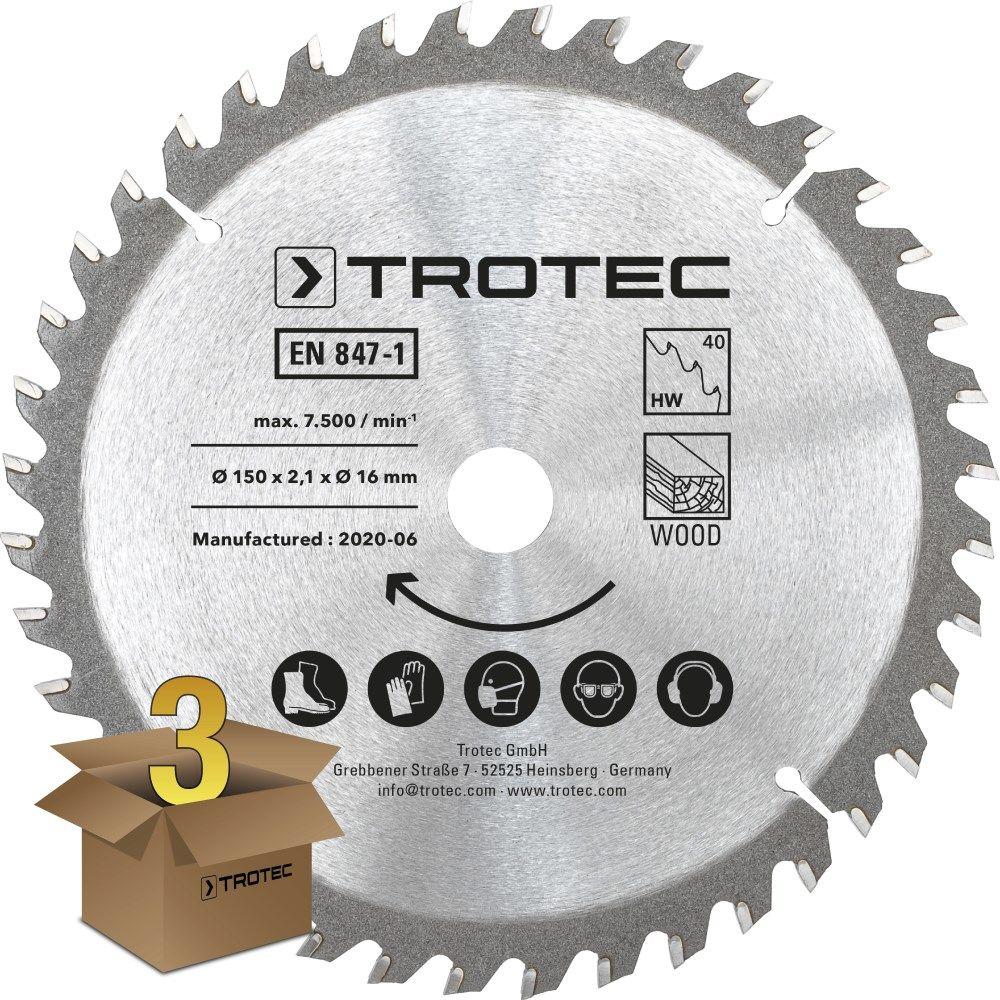 Zestaw tarcz do drewna do pilarki Ø 150 mm (40 zębów), 3-częściowy