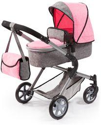 Bayer Design 18125AA lalka wózek miejski Neo z torbą i pod koszykiem na zakupy, można wymieniać na wózku, nowoczesny design, szary różowy różowy