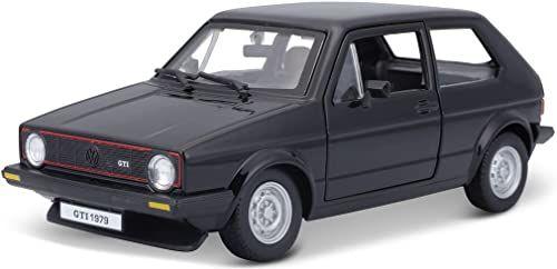 Bburago VW Golf 1 GTI (1979): model samochodu w skali 1:24, drzwi do otwierania, 19 cm, czarny (18-21089BK)