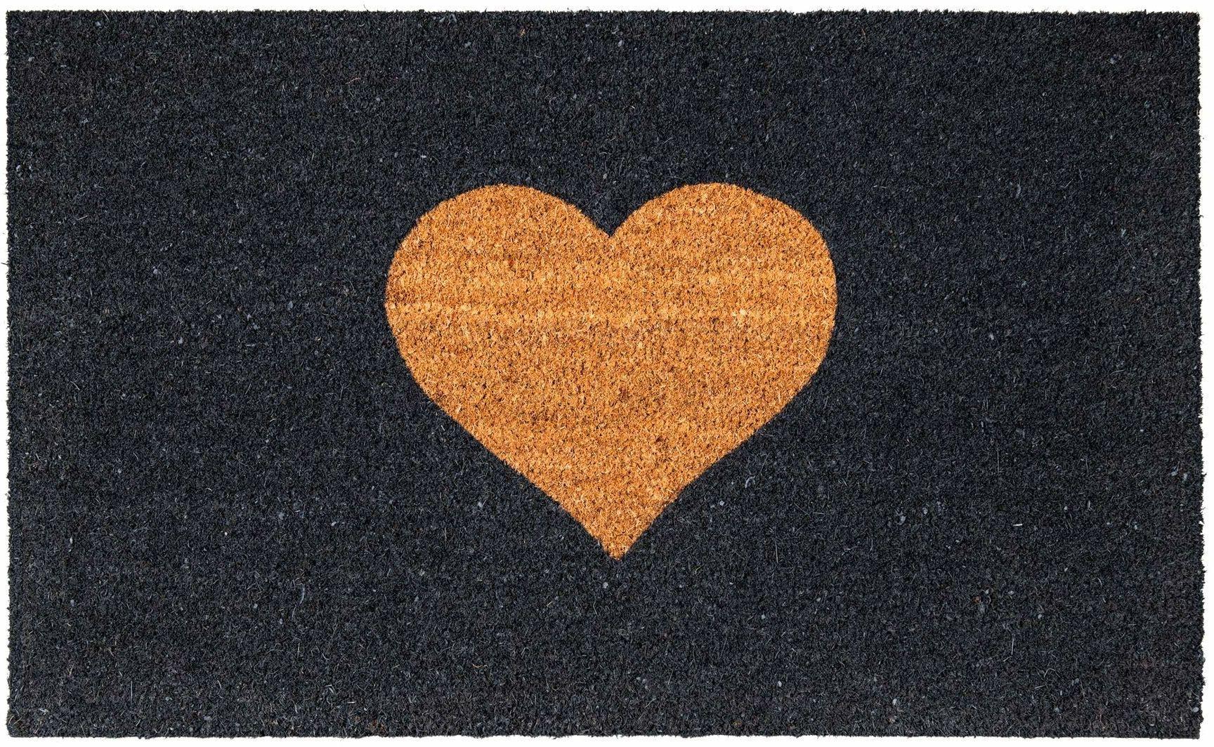 Maine Furniture Co, czarna, odwrotna wycieraczka z sercem-55 x 90 cm