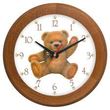Zegar drewniany rondo miś