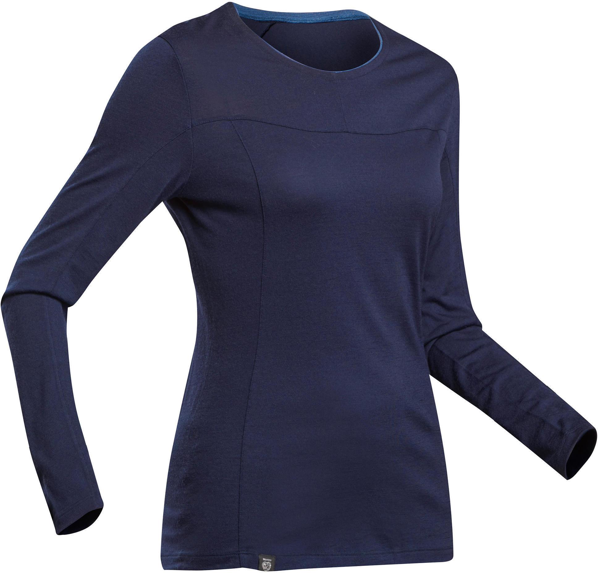 Koszulka trekkingowa z długim rękawem - TREK 500 MERINO - damska