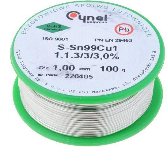 Drut lutowniczy Sn-99% Cu-1% 1mm/0,1kg Cynel