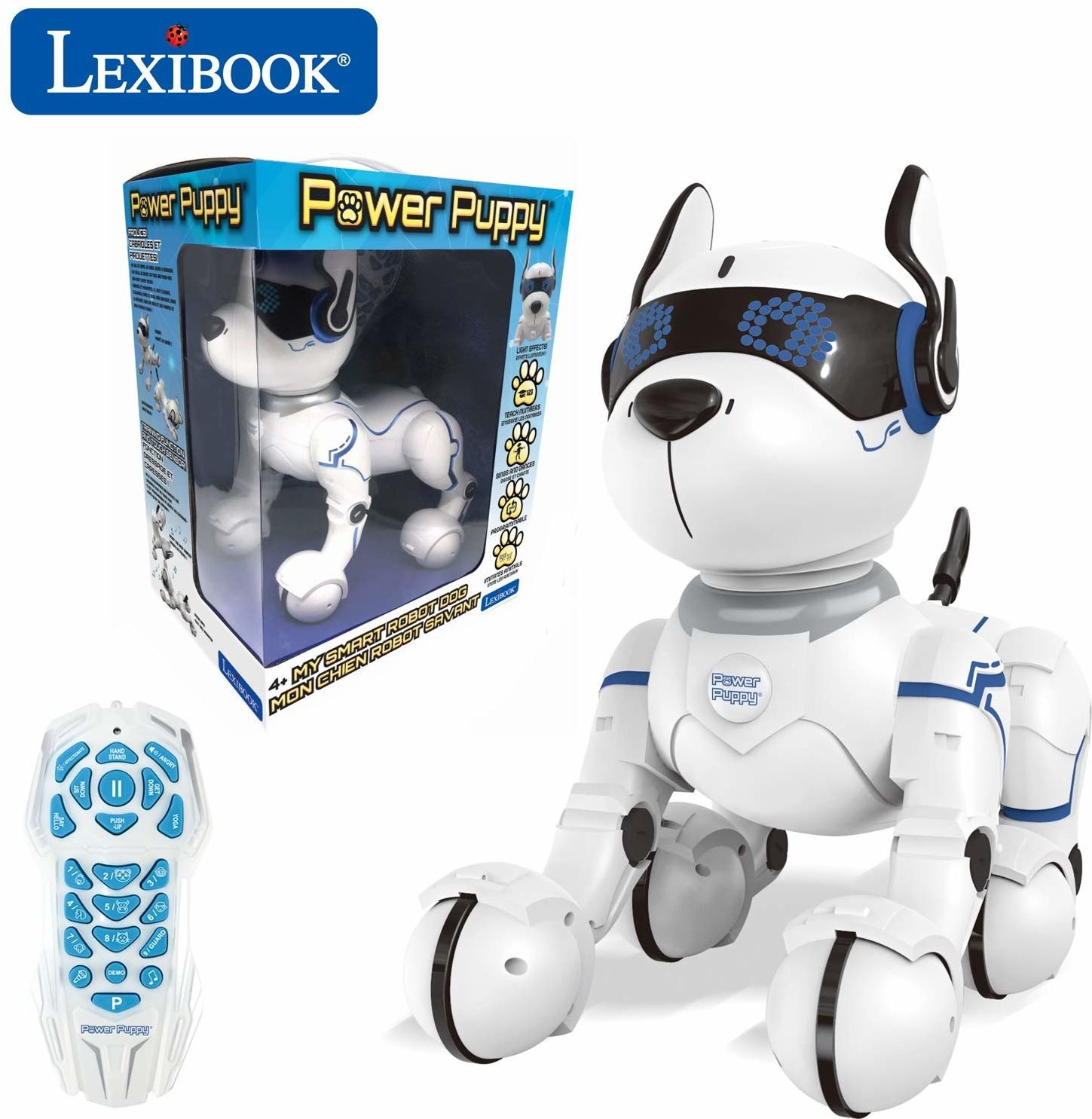Lexibook DOG01 Power Puppy inteligentny robot programowalny z pilotem zdalnego sterowania, taniec, joga, funkcja treningu, śpiewanie