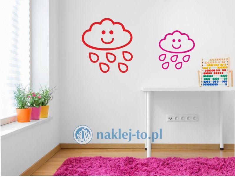 naklejka chmurka z deszczem 3 naklejka na ścianę