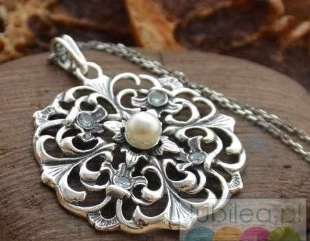 Lania - srebrny wisior akwamaryny i perła
