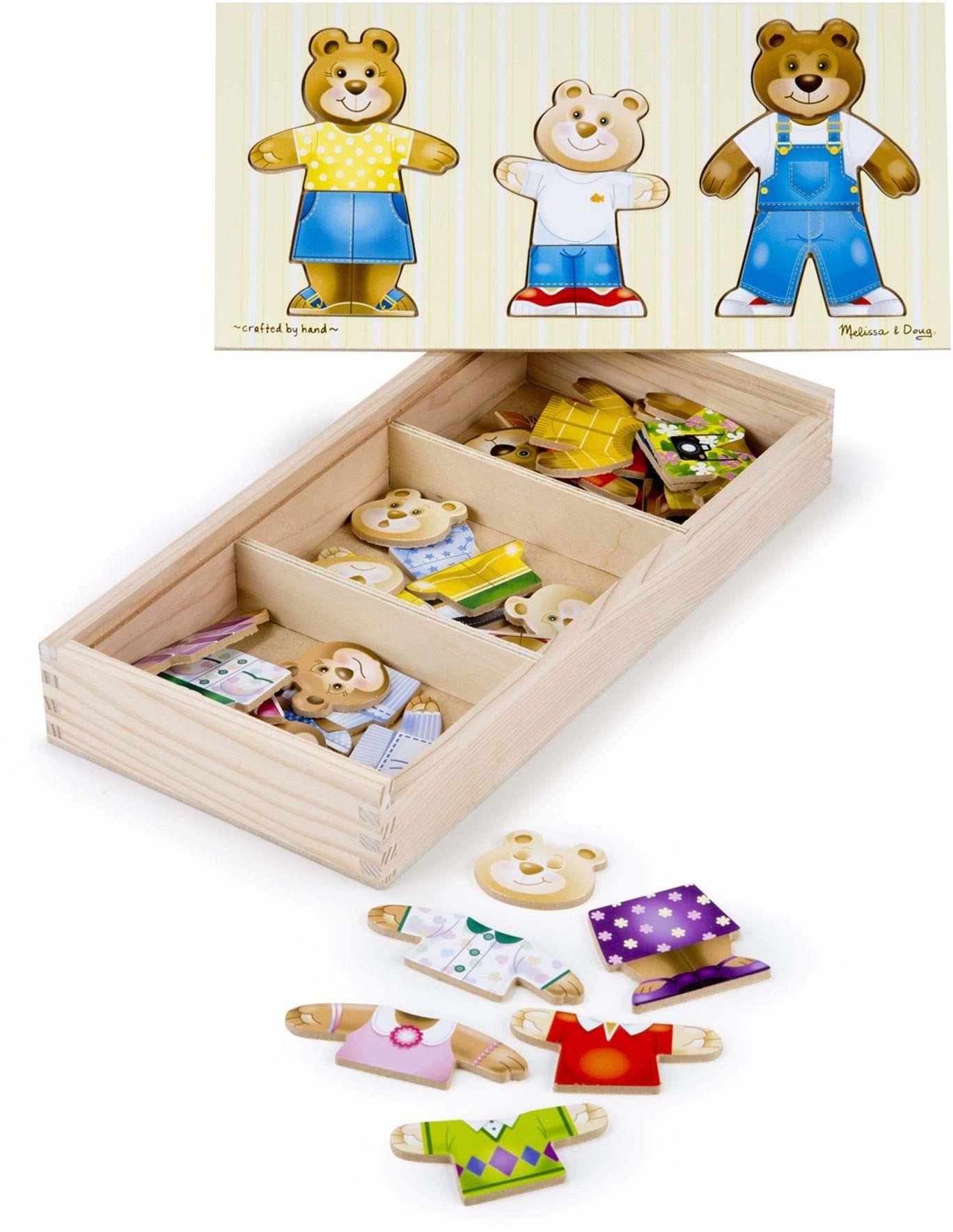 Melissa & Doug Drewniany niedźwiedź rodzinny przebieranki łamigłówki drewniana zabawka 3+ prezent dla chłopca lub dziewczyny