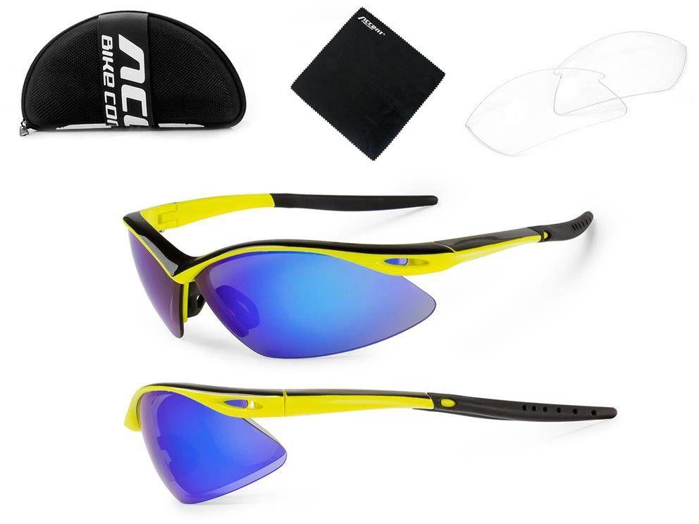 Okulary Accent Shadow żółte fluo-czarne 2 pary soczewek