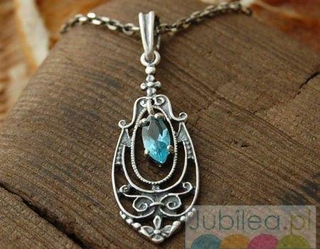 Maella - srebrny wisiorek z akwamarynem