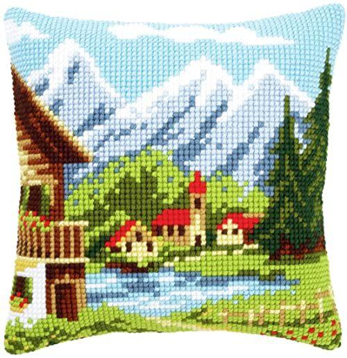 Vervaco Alpine Village I poduszka z haftem krzyżykowym, wielokolorowa