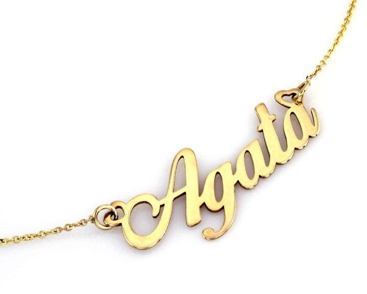 Złoty naszyjnik 585 celebrytka z imieniem Agata 2,54 g