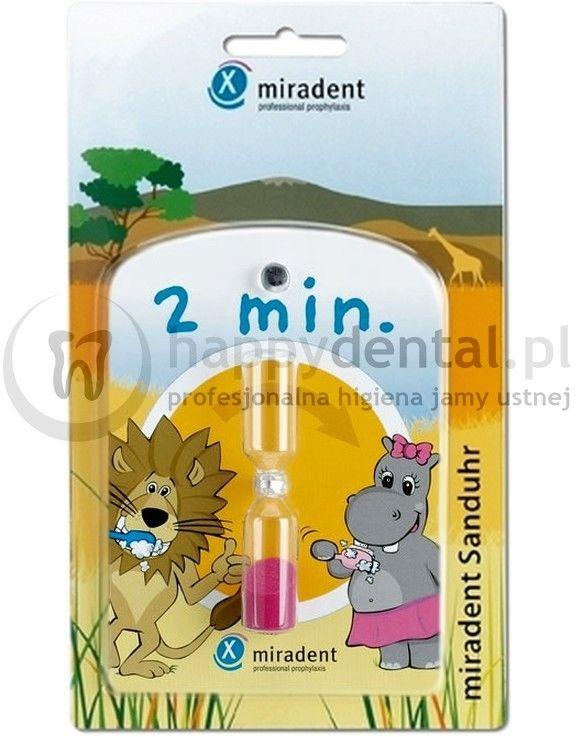 MIRADENT Zegar Piaskowy - samoprzylepna klepsydra odmierzająca zalecany, dwuminutowy czas mycia zębów