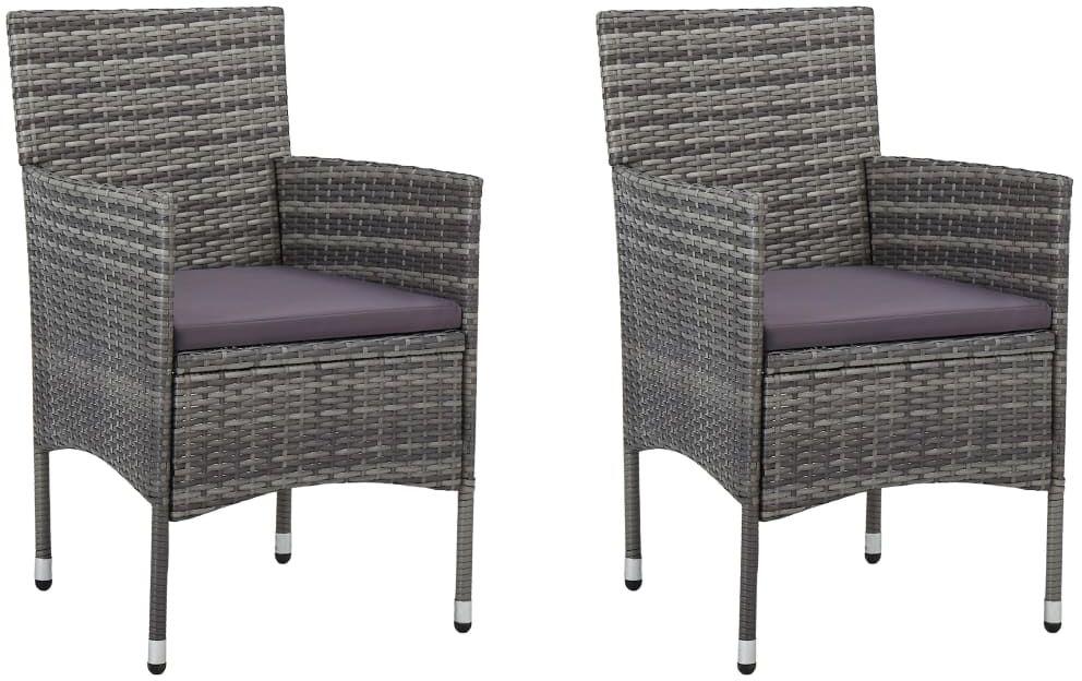 Komplet szarych krzeseł ogrodowych - Emiko 3X