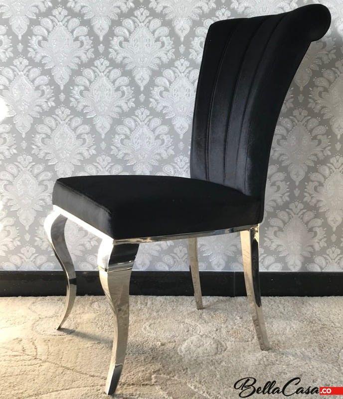 Krzesło glamour Livio Black - nowoczesne krzesło tapicerowane