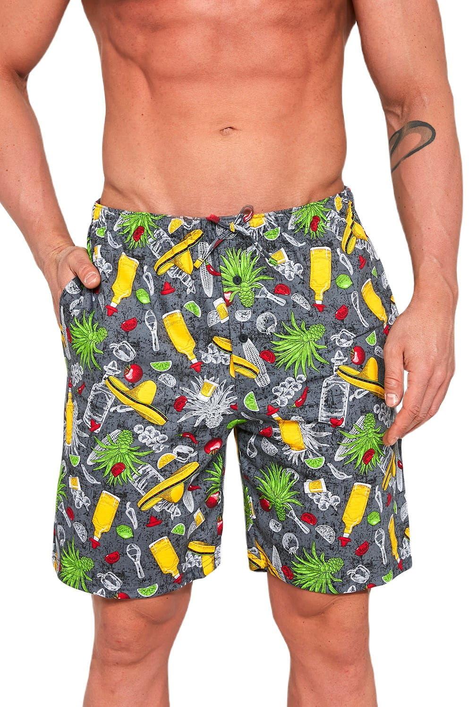 Męskie spodnie do piżamy Cornette krótkie 698/03 grafitowe
