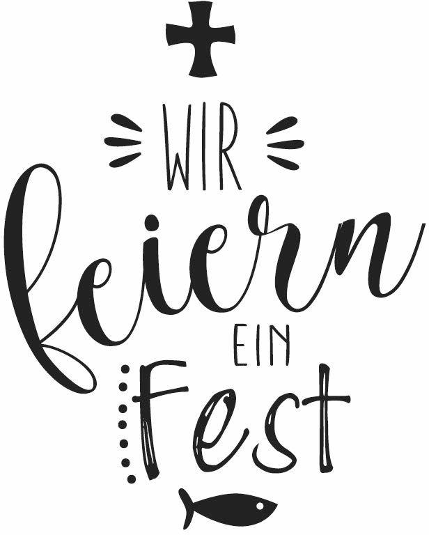 Rayher Hobby 29115000 pieczątka drewniana Wir Feiern Fest, 6 x 7 cm, z tekstem na zaproszenia na ślub, chrzest, komunię, bierzmowanie, pieczęć z maślanymi napisami