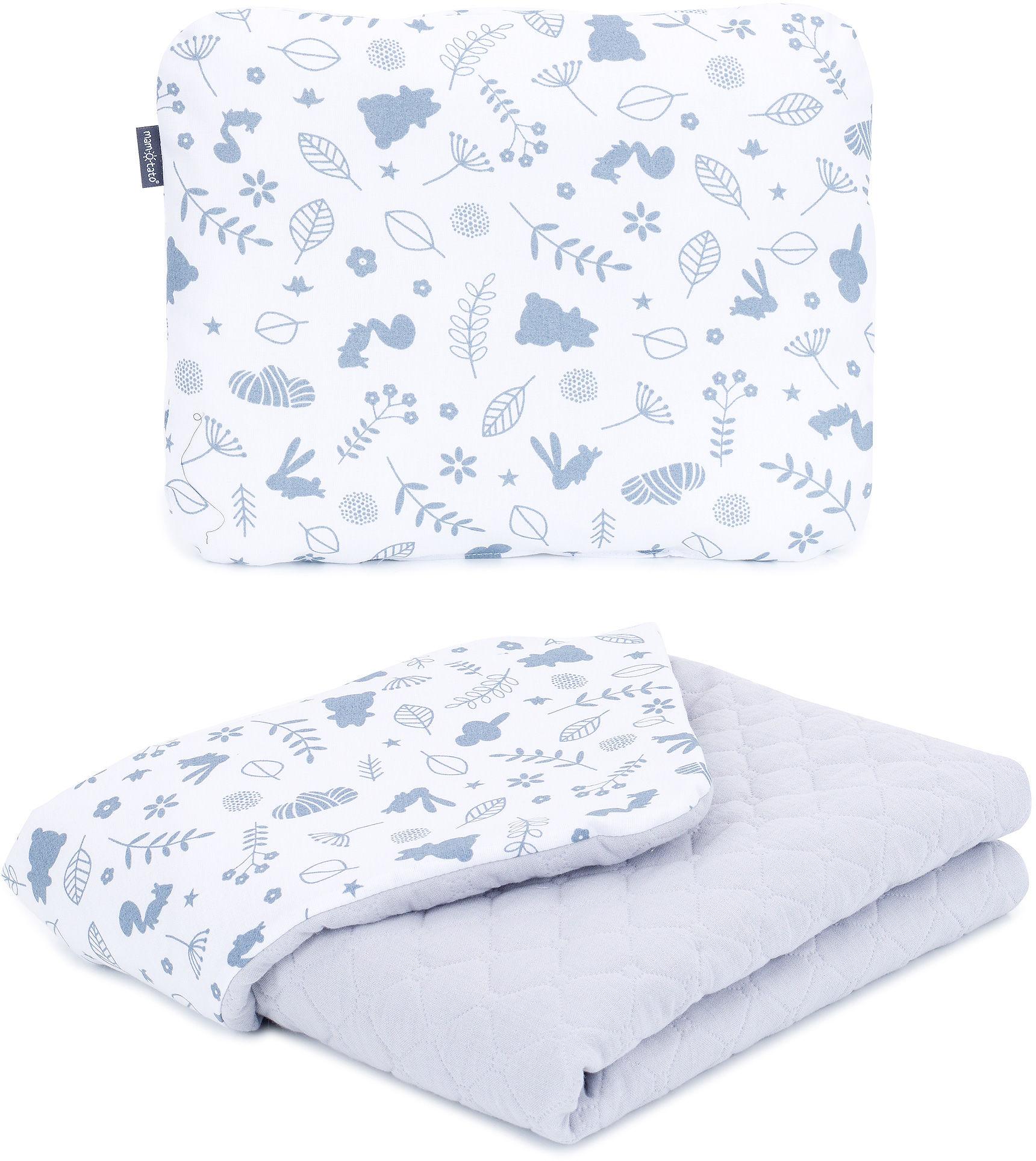 MAMO-TATO KOMPLET Kocyk dla dzieci i niemowląt 75x100 - MUŚLIN PIK + poduszka - Las / popiel - letni
