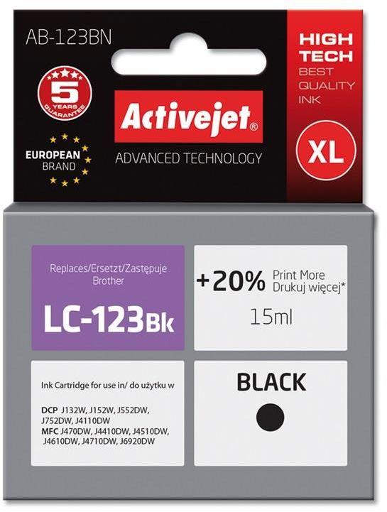 Tusz Activejet AB-123BN (zamiennik Brother LC123BK/121BK; Supreme; 15 ml; czarny)