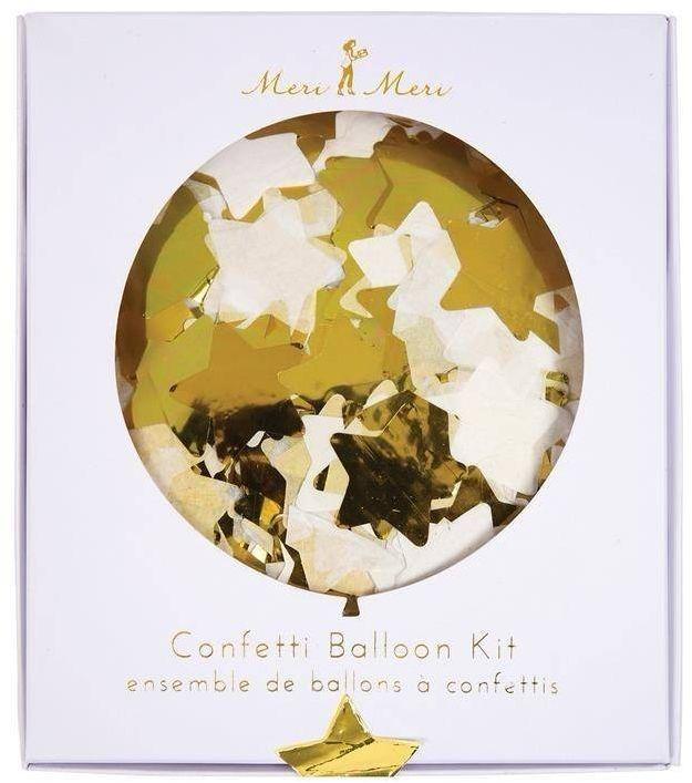 Zestaw balonów konfetti gwiazdki złote