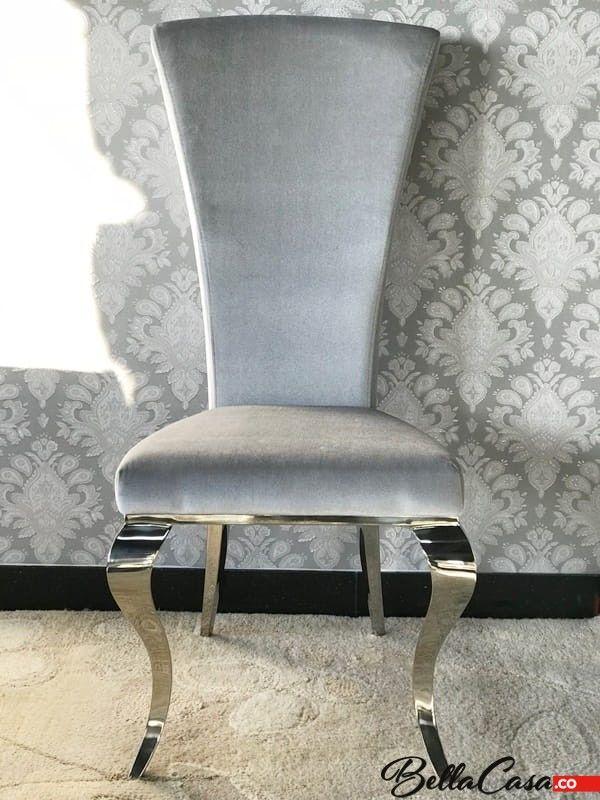 Krzesło glamour Ottavio Silver - nowoczesne krzesło tapicerowane