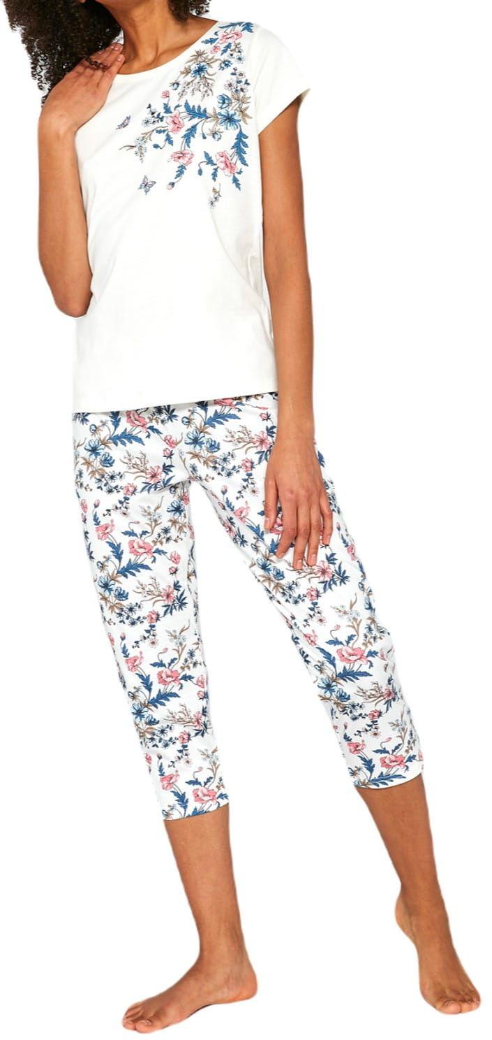 Bawełniana piżama damska Cornette 670/200 Sophie ekri