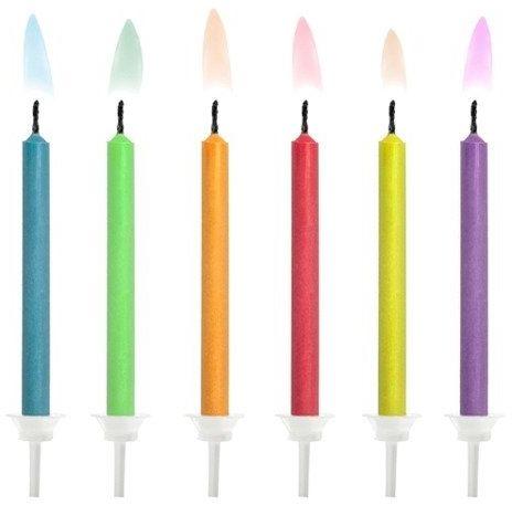 Świeczki urodzinowe z kolorowym płomieniem 6szt SCK-1