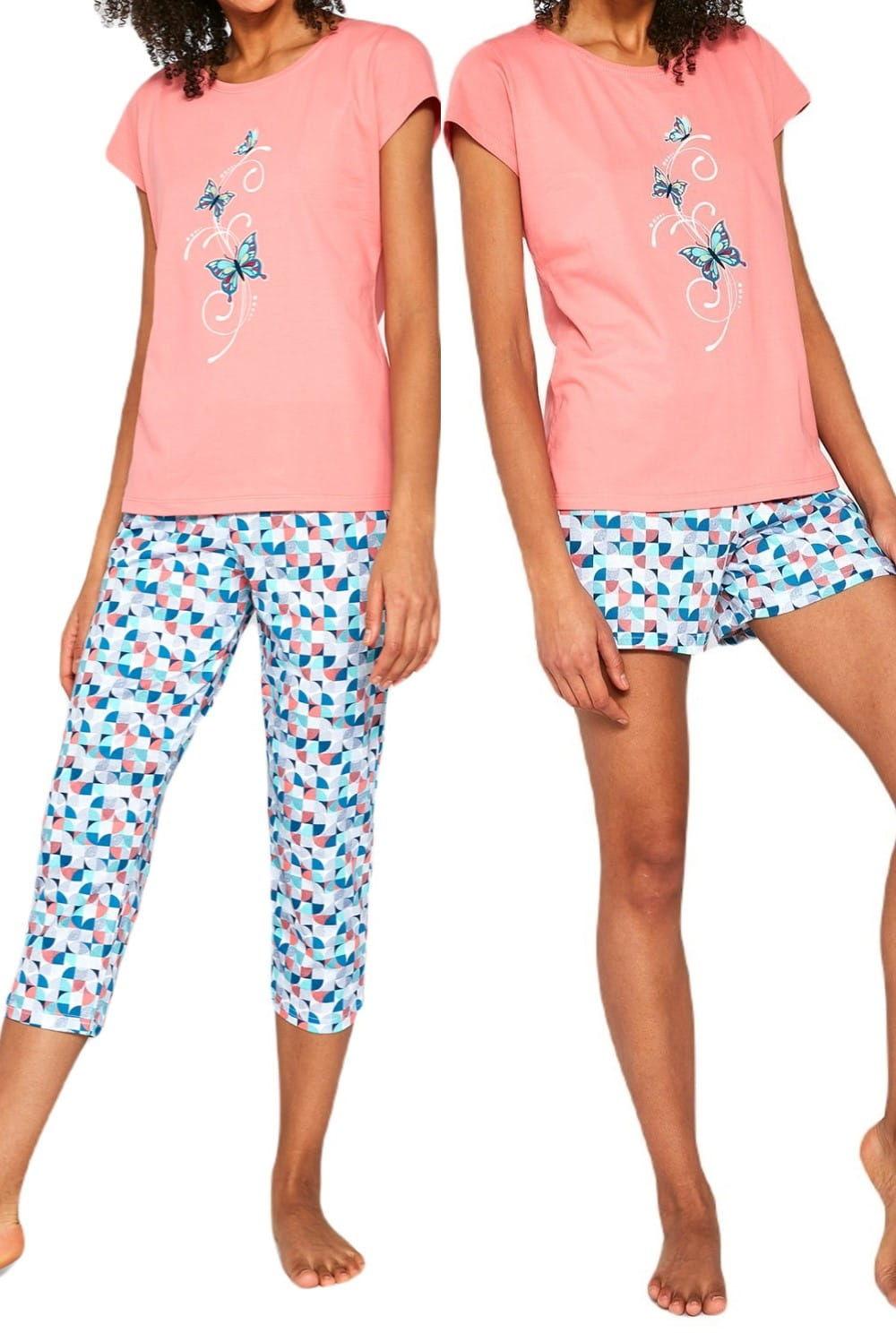 Bawełnian piżama damska Cornette 3 częściowa 665/202 Tree butterflies morelowa