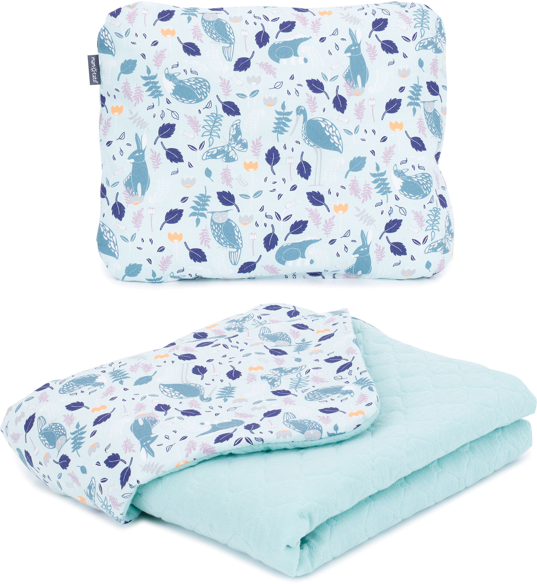 MAMO-TATO KOMPLET Kocyk dla dzieci i niemowląt 75x100 - MUŚLIN PIK + poduszka - Premium - Czaple na oceanie / jasna szałwia - letni