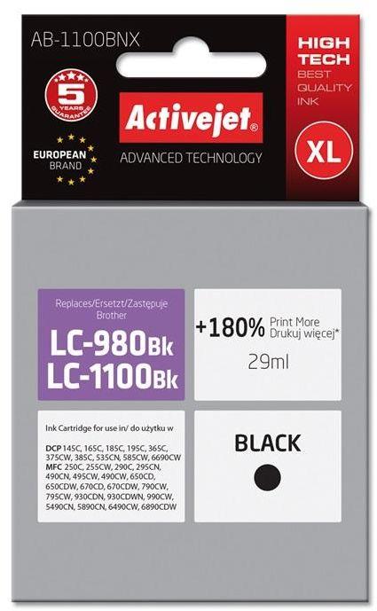 Tusz Activejet AB-1100BNX (zamiennik Brother LC1100BK/980BK; Supreme; 29 ml; czarny)