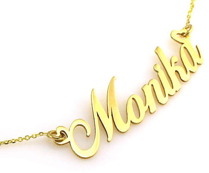Złoty naszyjnik 585 celebrytka imię Monika 2,62 g