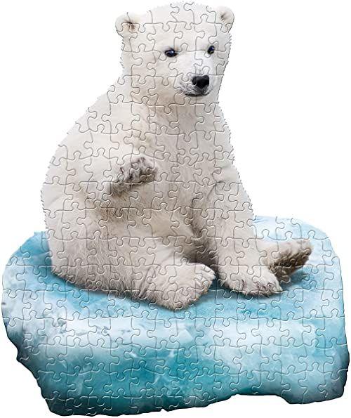 MADD 4010-IAMLPolarBear CAPP 884010 Shape Puzzle Junior niedźwiedź polarny, puzzle konturowe 100 części, dla dzieci i dorosłych, wielokolorowe