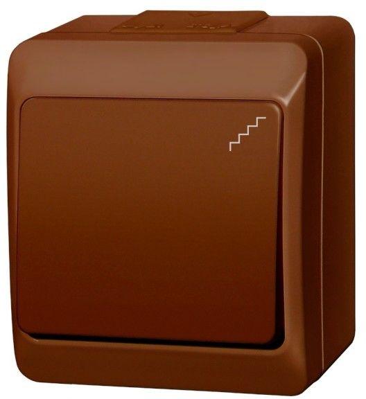 Łącznik schodowy pojedynczy Elektro-Plast Hermes natynkowy brązowy